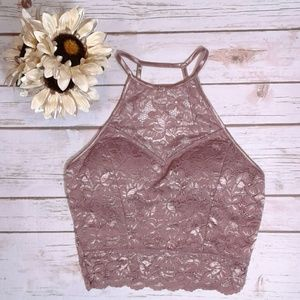Mocha high neck lace bralette scalloped hem edge